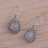 Rainbow moonstone dangle earrings, 'Droplet Magic' - Drop-Shaped Rainbow Moonstone Dangle Earrings from India