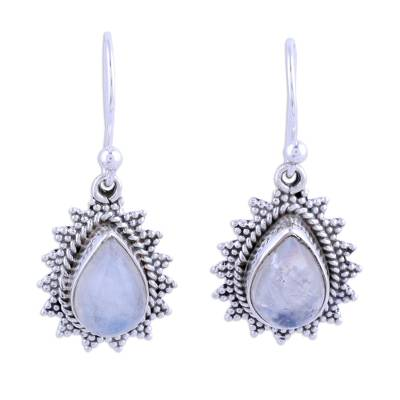 Drop-Shaped Rainbow Moonstone Dangle Earrings from India