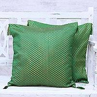 Brocade cushion covers, 'Palace Garden' (pair) - Green and Gold Floral Brocade Cushion Covers (Pair)