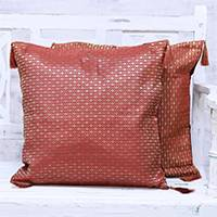 Brocade cushion covers, 'Crimson Grandeur' (pair) - Two Crimson and Gold Floral Brocade Cushion Covers