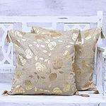 Rose Print Cushion Covers Gold Tassels Pair, 'Golden Rose'