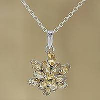 Rhodium plated citrine pendant necklace, 'Golden Burst' - Rhodium Plated Citrine Pendant Necklace from India