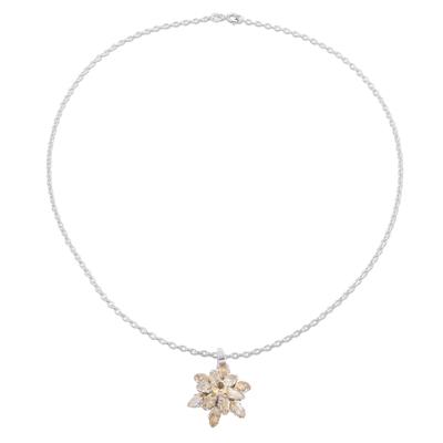 Rhodium plated citrine pendant necklace, 'Golden Burst' - Rhodium Plated Citrine Pendant Necklace from India