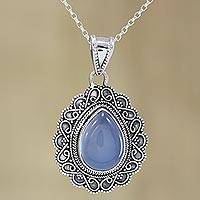 Chalcedony pendant necklace, 'Water of Life' - Teardrop Chalcedony and Silver Pendant Necklace from India