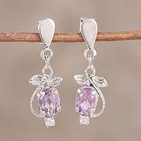 Amethyst dangle earrings, 'Purple Fruit' - Amethyst and Cubic Zirconia Dangle Earrings from India