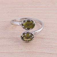 Rhodium plated peridot wrap ring, 'Rapturous Nature' - Rhodium Plated 3-Carat Peridot Wrap Ring from India