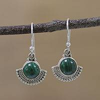 Malachite dangle earrings, 'Green Fans' - Fan-Shaped Malachite and Silver Dangle Earrings from India
