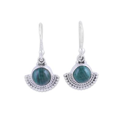 Malachite dangle earrings, 'Green Fans' - Fan-Shaped Malachite and Silver Dangle Earrings from India