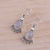 Rainbow moonstone dangle earrings, 'Gleaming Fans' - Fan-Shaped Rainbow Moonstone Dangle Earrings from India