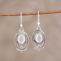 Rainbow moonstone dangle earrings, 'Ringed Magic' - Oval-Shaped Rainbow Moonstone Dangle Earrings from India