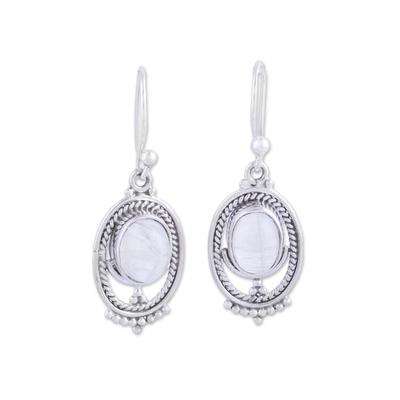 Rainbow moonstone dangle earrings, 'Ringed Magic' - Oval-Shaped Rainbow Moonstone Dangle Earrings from India
