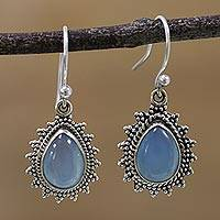 Chalcedony dangle earrings, 'Droplet Magic' - Chalcedony and 925 Silver Dangle Earrings from India