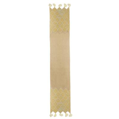 Cotton and jute table runner, 'Classic Honeycomb' - Cotton Jute Beige Beaded Embroidered Table Runner