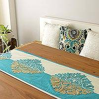 Chain-stitched cotton table runner, 'Majestic Fusion' - Cotton Blend Turquoise Beige Leaf Embroidered Table Runner