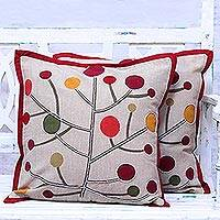 Cotton cushion covers, 'Lollipop Tree' (pair) - All Cotton Cushion Covers with Stylized Tree Motifs (Pair)