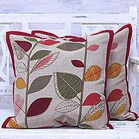 Cotton cushion covers, 'Vibrant Leaves' (pair) - Multicolored Cotton Cushion Covers with Leaf Motifs (Pair)