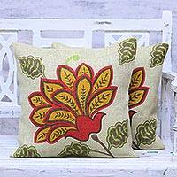 Jute cushion covers, 'Radiant Bloom' (pair) - Pair of Floral Printed Jute Cushion Covers from India