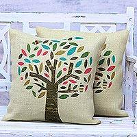 Jute cushion covers, 'Diverse Tree' (pair) - Pair of Tree Motif Printed Jute Cushion Covers from India