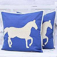 Cotton cushion covers, 'Majestic Horse' (pair) - Blue and Ivory Horse Motif Cushion Covers (Pair)
