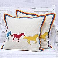 Cotton cushion covers, 'Post Time' (pair)