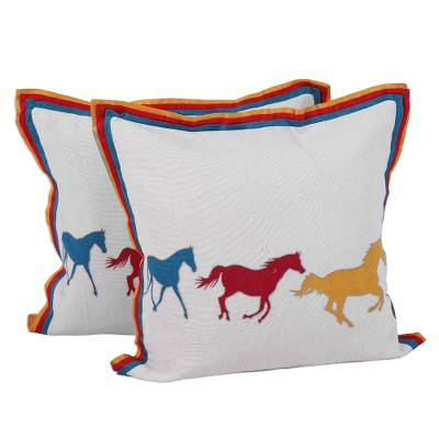 Cotton cushion covers, 'Post Time' (pair) - Horse Themed Cotton Cushion Covers from India (Pair)