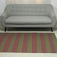 Wool dhurrie rug, 'Stripes of Life' (4x6)