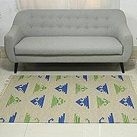 Wool dhurrie rug, 'Geometric Movement' (4x6) - 4x6 Wool Dhurrie Rug in Royal Blue and Avocado