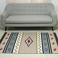 Wool dhurrie rug, 'Grey Songs' (4x6) - 4x6 Handwoven Geometric Wool Area Rug in Grey from India
