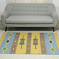 Wool dhurrie rug, 'Beach-Side Brilliance' (4x6)