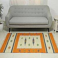 Wool dhurrie rug, 'Sweet Tangerine' (4x6) - 4x6 Handwoven Wool Dhurrie Rug in Tangerine from India