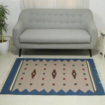 Wool dhurrie rug, 'Azure Melody' (4x6) - Handwoven Azure Wool Dhurrie Rug from India (4x6)