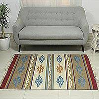 Wool dhurrie rug, 'Garden's Warmth' (4x6) - Artisan Handwoven Geometric Dhurrie Rug from India (4x6)