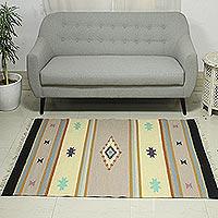 Wool dhurrie rug, 'Starry Sunrise' (4x6)