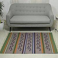 Wool dhurrie rug, 'Tulip Breeze' (4x6) - 4x6 Handwoven Floral Wool Dhurrie Rug from India
