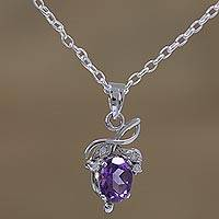 Rhodium plated amethyst pendant necklace, 'Lilac Fruit' - Rhodium Plated Amethyst Fruit Pendant Necklace from India