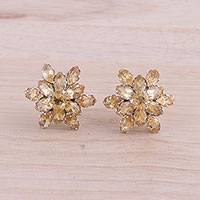 Rhodium plated citrine button earrings, 'Golden Burst' - Rhodium Plated Citrine Button Earrings from India