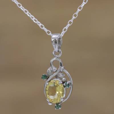 Rhodium plated citrine and emerald pendant necklace, 'Sunshine Bloom' - Rhodium Plated Citrine and Emerald Leaf Necklace from India