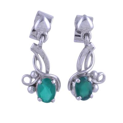 Rhodium Plated Green Onyx Dangle Earrings from India