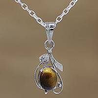Rhodium plated tiger's eye pendant necklace, 'Earthen Bloom' - Rhodium Plated Tiger's Eye Pendant Necklace from India