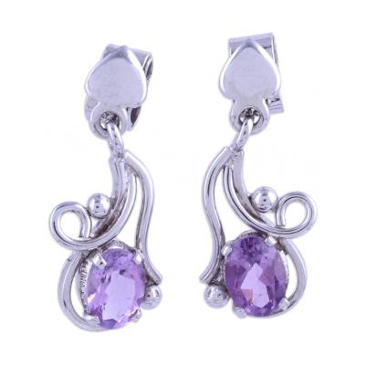 Rhodium plated amethyst dangle earrings, 'Flowing Twist' - Rhodium Plated Amethyst Leaf Dangle Earrings from India