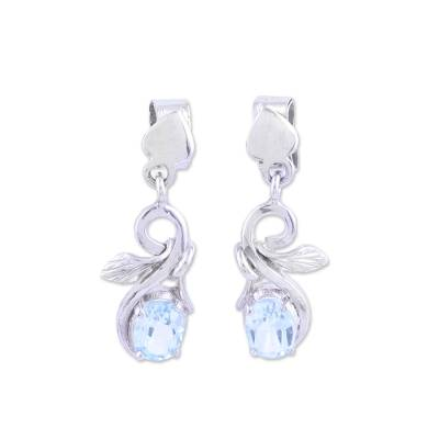 Rhodium Plated Blue Topaz Dangle Earrings from India