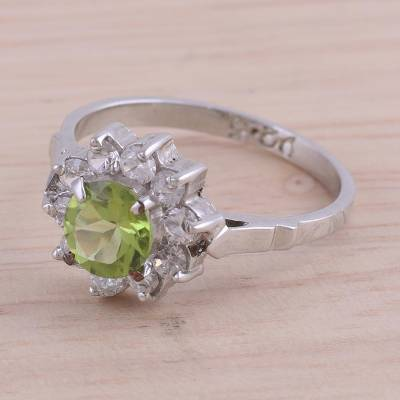large silver chain necklace bulk - Sparkling Peridot Cocktail Ring from India