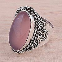 Chalcedony cocktail ring, 'Charming Pink' - Pink Chalcedony and Silver Cocktail Ring from India