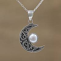 Cultured pearl pendant necklace, 'Cratered Moon' - Cultured Pearl Crescent Moon Pendant Necklace from India
