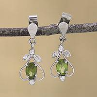 Peridot dangle earrings, 'Leafy Spade' - Peridot CZ Rhodium-Plated Sterling Silver Dangle Earrings