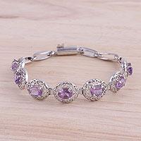 Amethyst link bracelet, 'Jali Beauty' - Rhodium-Plated Sterling Silver Amethyst Link Bracelet