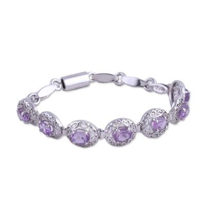 Rhodium-Plated Sterling Silver Amethyst Link Bracelet