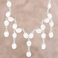 Rainbow moonstone waterfall necklace, 'Lustrous Glow'