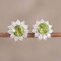 Peridot and cubic zirconia stud earrings, 'Gleaming Flower'
