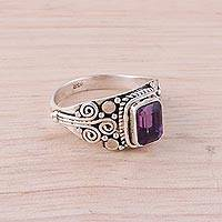 Amethyst single-stone ring, 'Royal Luxury' - Amethyst and Sterling Silver Single Stone Ring from India